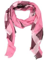 Burberry Check Patterned Scarf - Pink