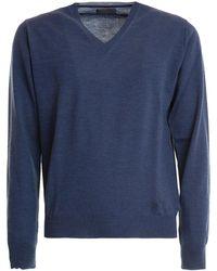 Corneliani V-neck Lightweight Wool Pullover - Blue