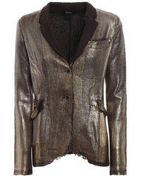 Avant Toi Basket Stitch Gold-tone Cotton Blazer - Metallic