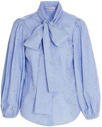 RED Valentino Camicia con fiocco azzurra - Blu