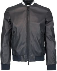 Emporio Armani Logo Collar Leather Jacket - Blue
