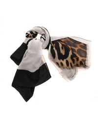 Moschino Colorblock Pashmina In White And Animal Print