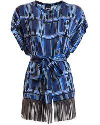 Just Cavalli Tunica con frange - Blu