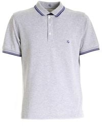Fay Electric Blue Edges Polo Shirt In Gray