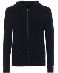 Michael Kors Cardigan con cappuccio e zip in cotone e lana - Blu