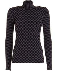 Emporio Armani Checkered Turtleneck Top - Black