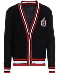 Balmain Embroidered Badge Cardigan In Black