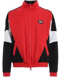 Burberry Felpa color-block in jersey tecnico e neoprene - Rosso