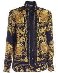 Versace Jeans Couture - Camicia nera con motivo Rococo - Lyst