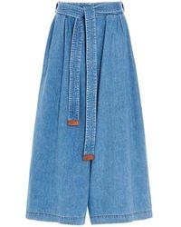 Loewe Jeans Cropped Belt azzurro - Blu