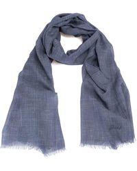 Brioni Blue Cashmere Silk Linen Scarf