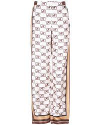 Alberta Ferretti Monogram Print Loose Silk Trousers - Natural