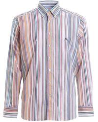 Etro Camicia a righe con ricamo logo sul petto - Multicolore