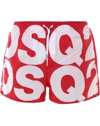 DSquared² All-over Logo Swim Shorts - Red