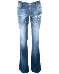 DSquared² - Medium Waist Flare Jeans In Blue - Lyst