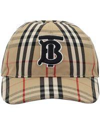 Burberry - Vintage Check Tb Logo Cotton Baseball Cap - Lyst