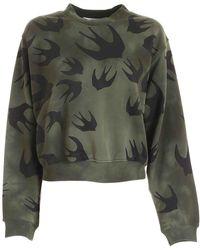 McQ Swallow Print Crop Sweatshirt In Green