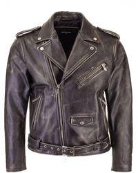DSquared² Mini giacca Kiodo in pelle invecchiata nera - Nero