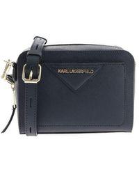Karl Lagerfeld Kklassik Camera Bag With Logo - Blue