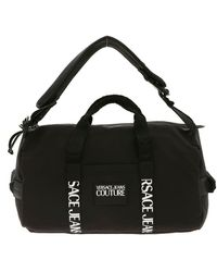 Versace Jeans Rubber Logo Tag Duffle Bag In Black