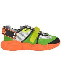 Moschino Teddy Florescent Orange Sole Trainers - Green