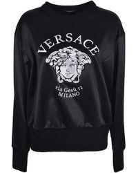 Versace Felpa con logo Medusa ricamato nera - Nero