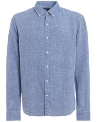 Michael Kors Camicia in lino con colletto button-down - Blu