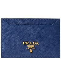 Prada Royal Blue Saffiano Leather Card Holder