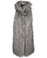 Herno Sleeveless Padded Faux Fur - Grey