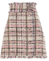 MSGM Minigonna in tweed a quadri rosa
