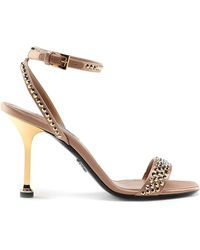 Prada Crystal Detailed Sandals - Metallic