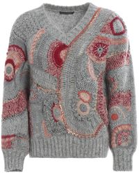 Alberta Ferretti Eyelet Patterned Knit Jumper - Gray