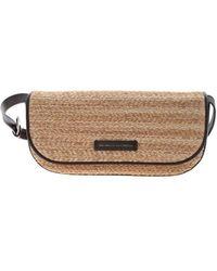 Brunello Cucinelli Straw Effect Crossbody Bag In Beige - Natural