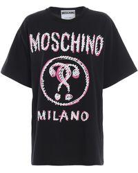 Moschino Milano Print Black Cotton T-shirt
