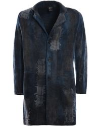 Avant Toi Cappotto effetto patchwork infeltrito velvet - Blu