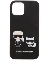 Karl Lagerfeld Cover iPhone 12Pro Max Karl e Choupette nera - Nero
