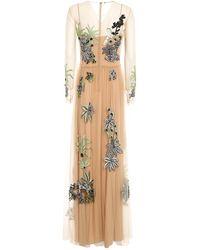 Alberta Ferretti Embellished Tulle Dress - Natural