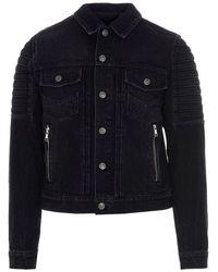 Balmain Denim Biker Jacket In Black