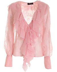 Blumarine Lace Blouse In Pink