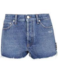 Off-White c/o Virgil Abloh Faded Denim Shorts - Blue