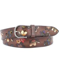 Orciani Floral Print Leather Belt - Brown