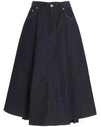 Loewe Pleated Denim Skirt In Blue