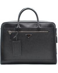 Prada Saffiano Leather Zip Around Briefcase - Black