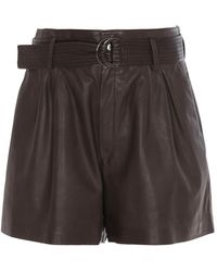 P.A.R.O.S.H. Belted Leather Shorts - Brown