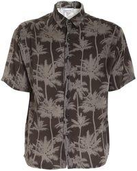 Laneus Palm Print Shirt - Green