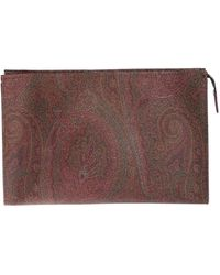 Etro Paisley Beauty Case In Brown