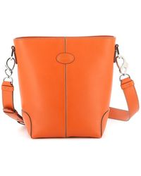 Tod's Soft Leather Bucket Bag - Orange