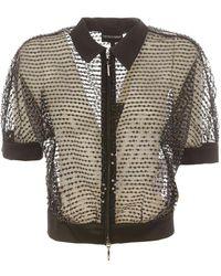 Emporio Armani Sequined Tulle Cardigan - Black