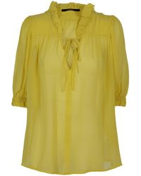 Seventy Blusa in cotone e seta - Giallo