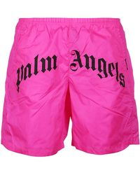 Palm Angels Shorts Da Mare Logati - Rosa